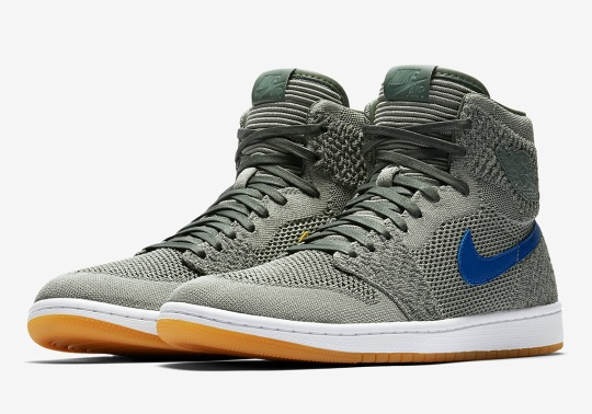 """Air Jordan 1 Retro High Flyknit """"Clay Green"""" Features Alternate Colored Swooshes"""