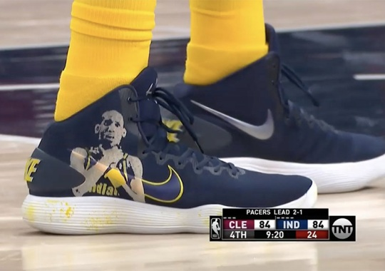 997f4a15edd4 Indiana Pacers  Trevor Booker Wears Custom Nike Hyperdunks With Reggie  Miller s Choke