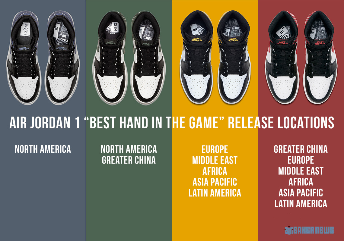 "d1e3c1c8be0 Official Release Locations For The Air Jordan 1 ""Best Hand In The Game""  Collection"