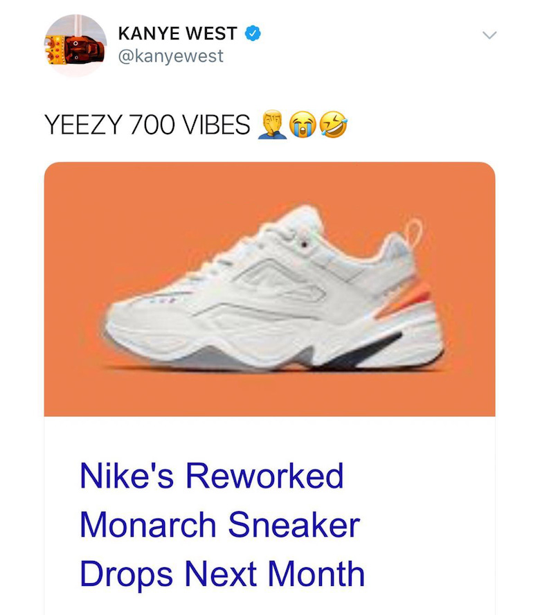 "1257e67e548 ... ""new"" shoe is heavily inspired by his Yeezy Boost 700. The tweet has  since been deleted"