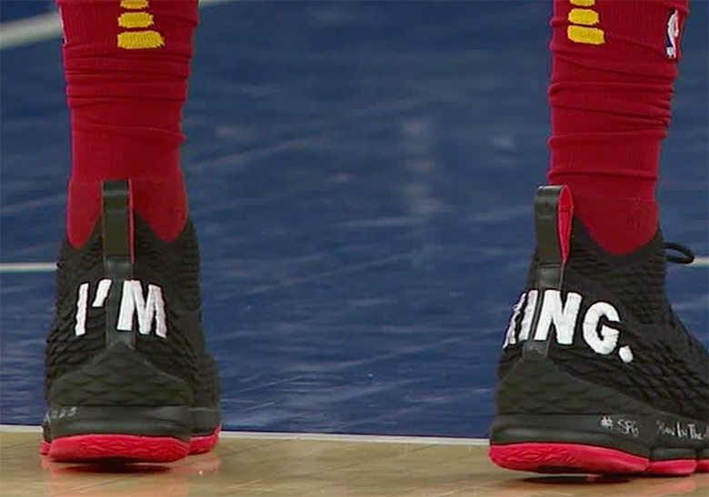 """d618dacaccc0 ... LeBron came prepared with a pair of PEs that simply read """"I M KING"""" on  the heels"""
