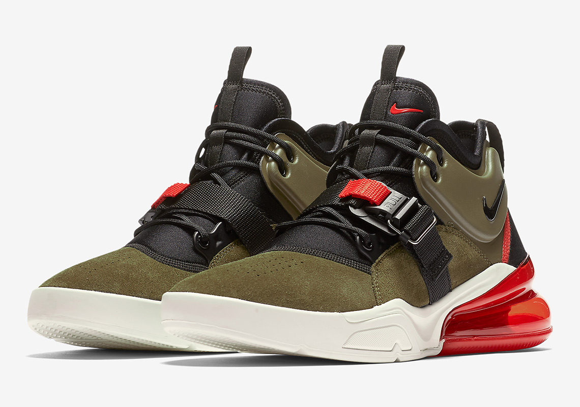 600d04f38 Nike Air Force 270. Release Date: April 13, 2018 $160. Color: Medium Olive/ Black-Challenge Red-Sail Style Code: AH6772-200