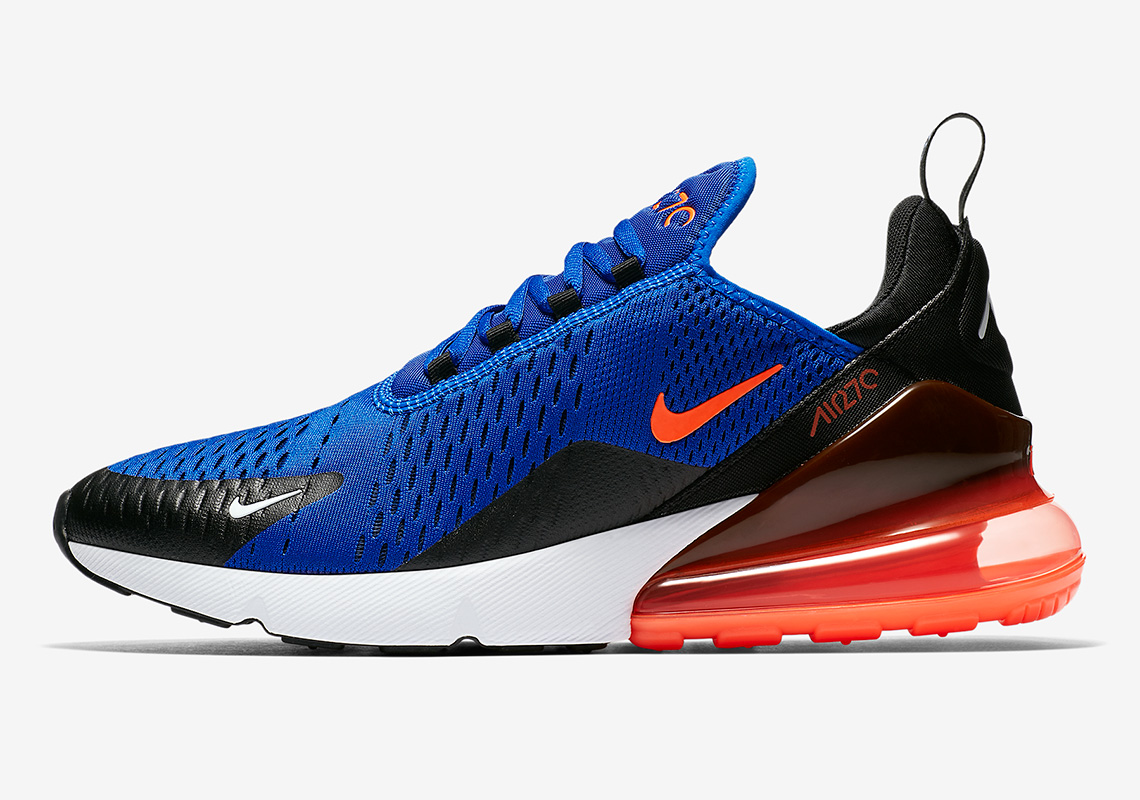NEW Nike Air Max 270 Racer Blue Total Crimson Orange Black White AH8050-401