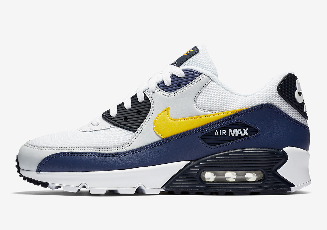 ad1d93f5a461e1 Nike Air Max 90. AVAILABLE AT Nike  110. Color  White Blue Recall Pure  Platinum Tour Yellow