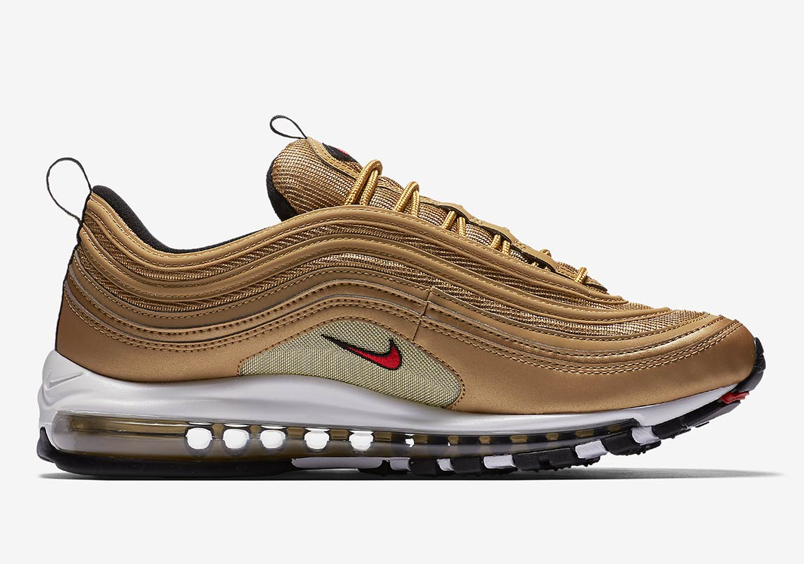 "Nike Air Max 97 ""Metallic Gold"" Release Date: May 17, 2018 $160. Color:  Metallic Gold/Varsity Red-White-Black"