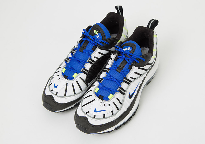 nike air max 98 white black racer blue volt