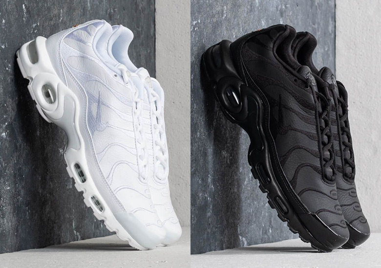 best service 530d9 5c194 Nike Air Max Plus Leather Uppers Black + White   SneakerNews.com