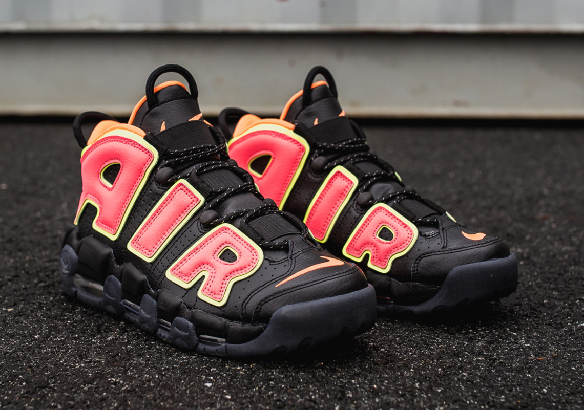 Nike Air More Uptempo AVAILABLE AT Nike  160. Color  Black Hot Punch-Volt 32ef7abba