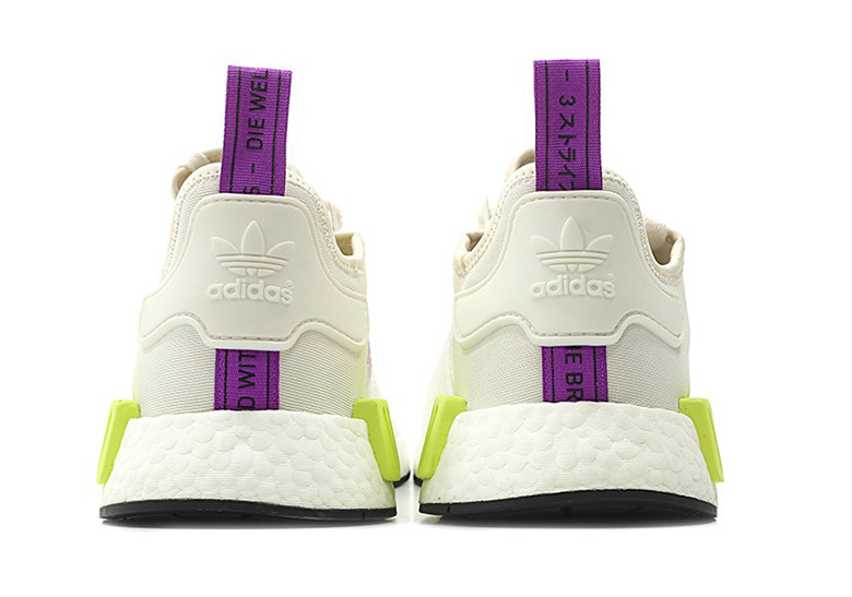 detailing de833 997f7 adidas NMD R1 Release Date August 1st, 2018. Color Off WhitePurpleNeon  Yellow Style Code D96626. Photos TGWO