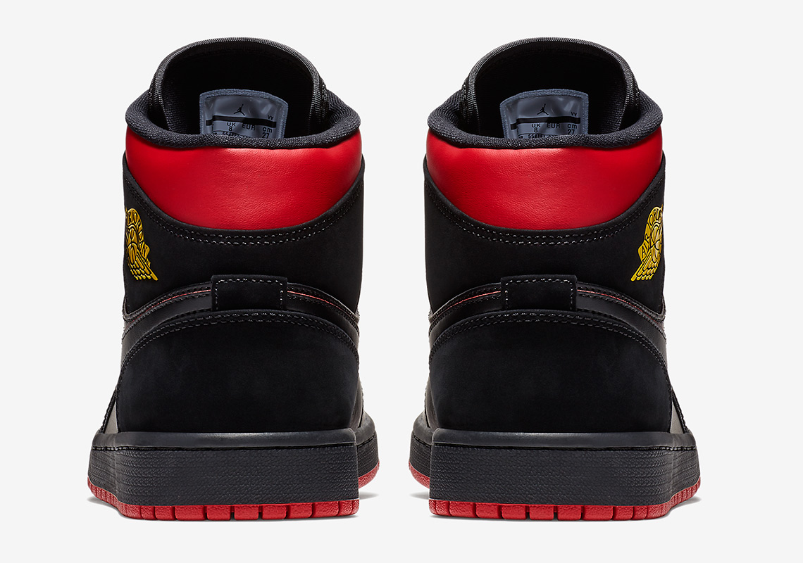 39a2cfea16fa Air Jordan 1 Mid AVAILABLE AT Shoe Palace  130. Color  Black Red-Yellow  Style Code  554724-076. show comments