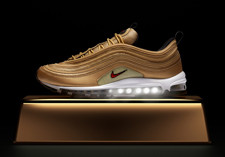 """af0d28c871a69 Where To Buy The Nike Air Max 97 """"Metallic Gold"""". May 15, 2018 by Sneaker  News"""