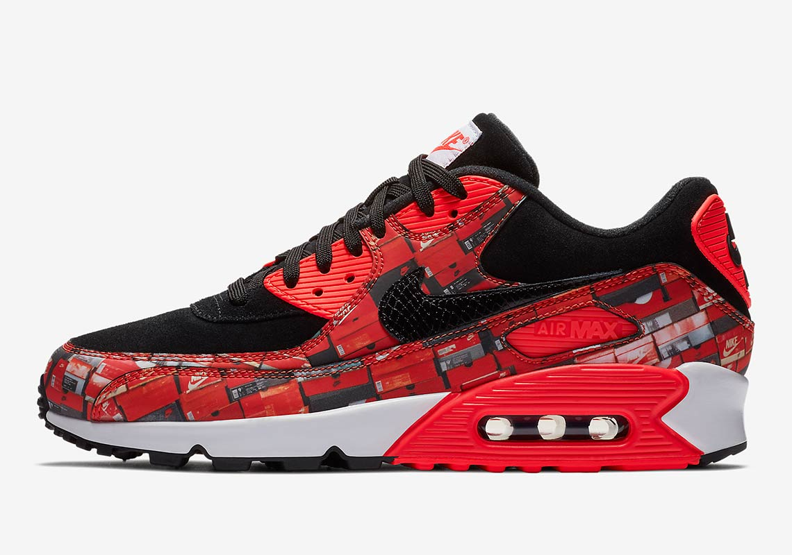 "new concept fa19e 90f23 atmos x Nike Air Max 90 ""We Love Nike"" EU Release Date: May 26, 2018. US  Release Date: June 2, 2018 $140. Color: Black/Bright Crimson-White Style  Code: ..."