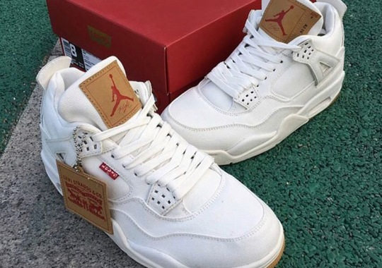 Levi's x Air Jordan 4 Releasing In White And Black Denim