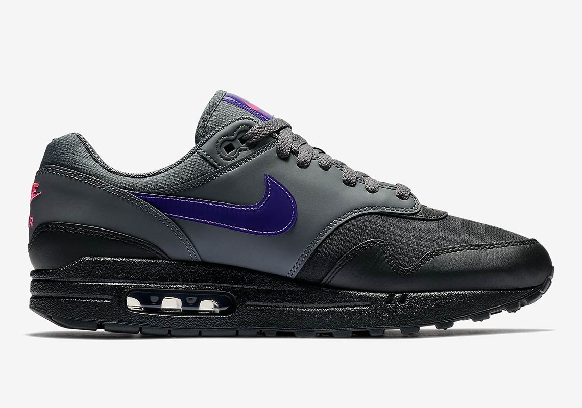 new styles ed31a 6138e Nike Air Max 1 Black Grey Purple Pink AR1249-002   SneakerNews.com