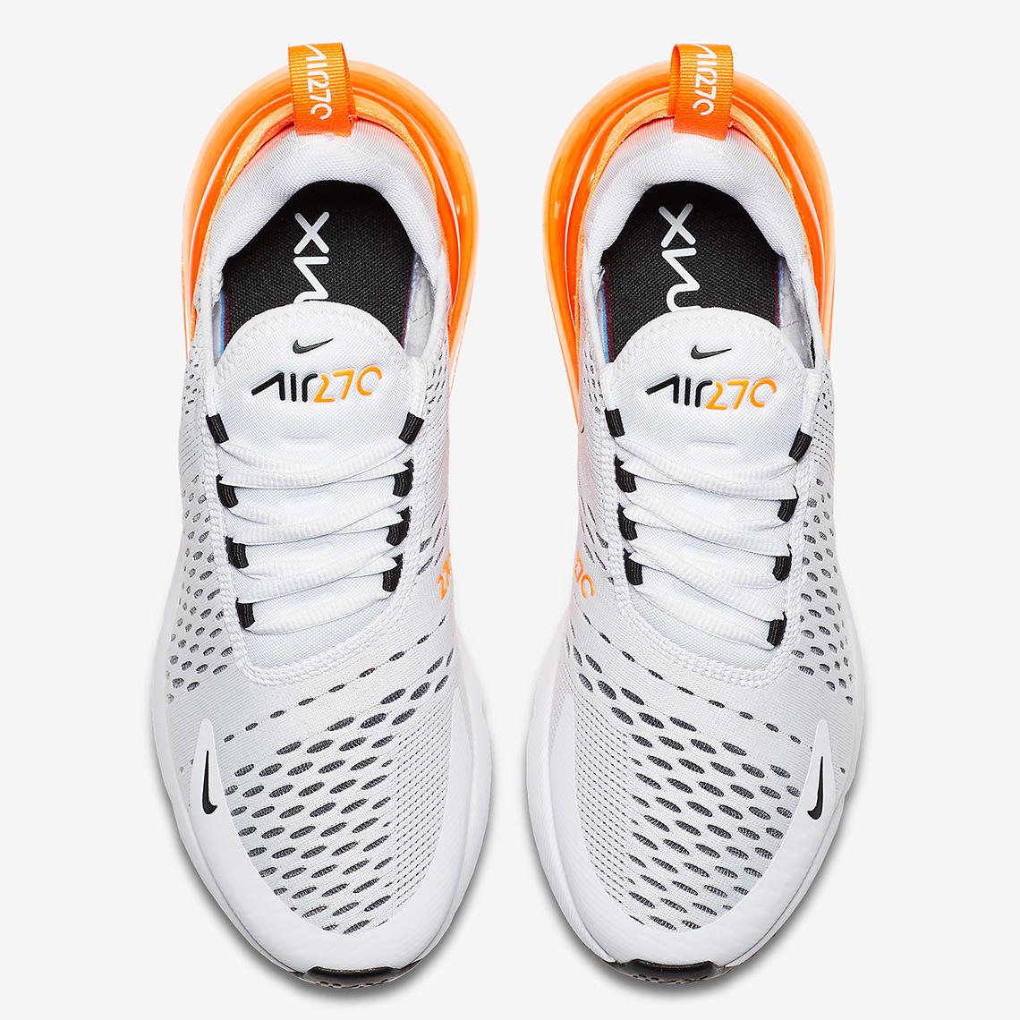 28b5940ea34e Nike Air Max 270  150. Color  White Orange-Black Style Code  AH6789-104