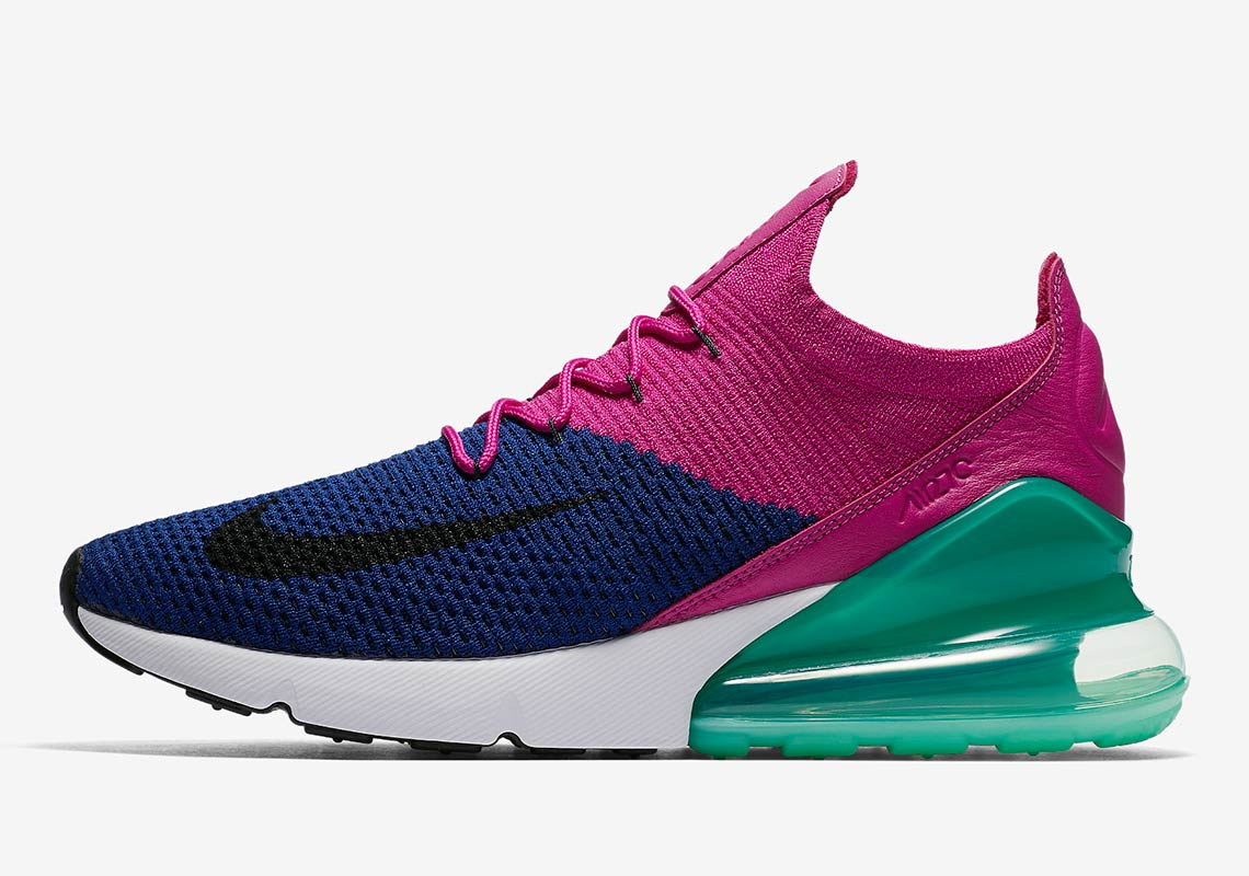 super popular ede4a 91921 Nike Air Max 270 Flyknit Release Date  June 14, 2018  170. Color  Deep  Royal Blue Black-Fuchsia Flash Style Code  AO1023-401