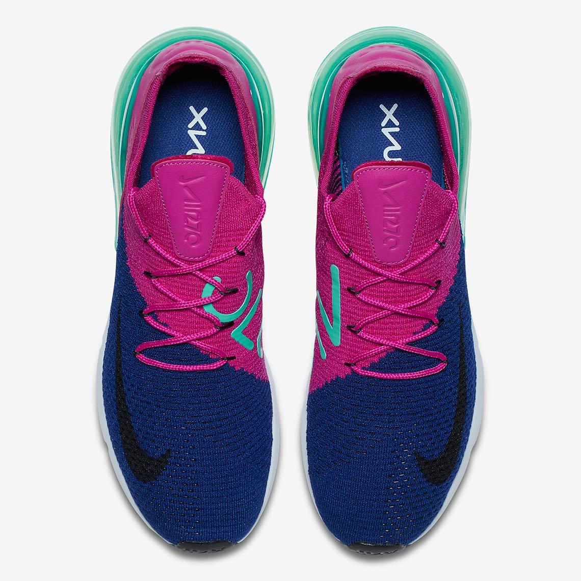 39fd0c3d3b71 Nike Air Max 270 Flyknit Fuschia Teal Release Info AO1023-401 ...