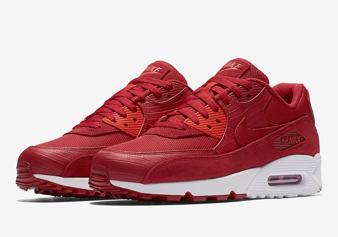 finest selection 93b14 83b8d Nike Air Max 90 Premium AVAILABLE AT Nike  130. Color  Gym  Red White Habanero Red Gym Red