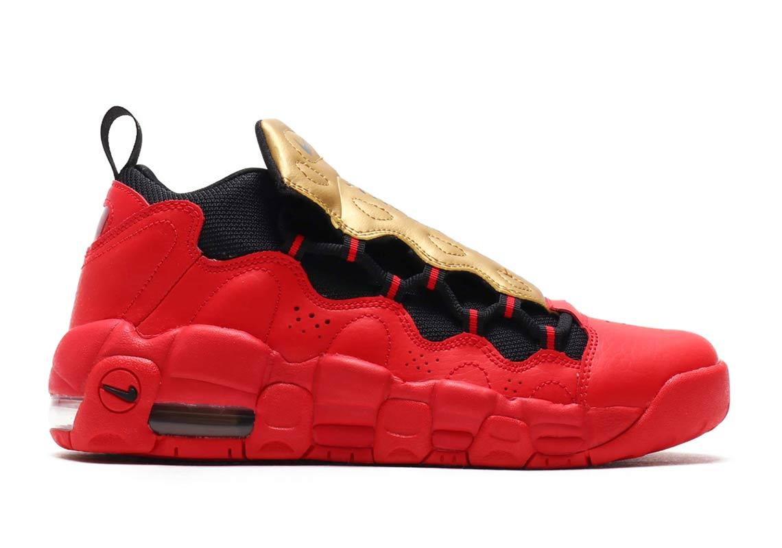 Nike Air More Money GS ¥12,500. Color University RedBlack-Metallic Gold