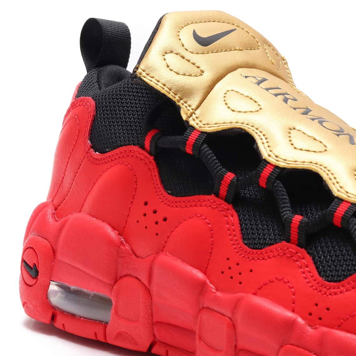 fba19cc819678 Nike Air More Money GS Gold/Red AH5215-600 | SneakerNews.com