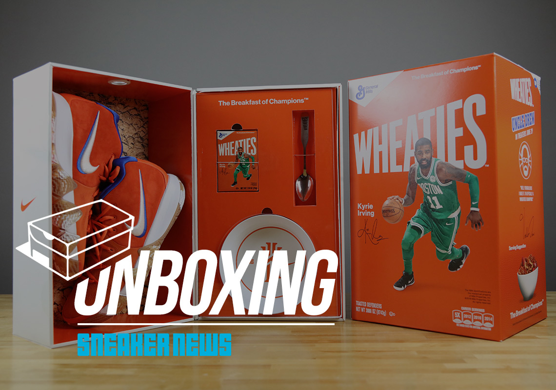 official photos 60fd6 f6c21 Unboxing Nike Kyrie 4 Wheaties Cereal Box | SneakerNews.com