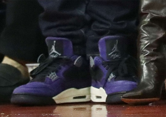 Travis Scott Wears His Purple Air Jordan 4 To Game 7 Of The Western Conference Finals
