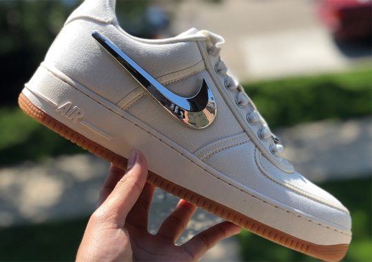 """Up Close With The Travis Scott x Nike Air Force 1 In """"Sail"""""""