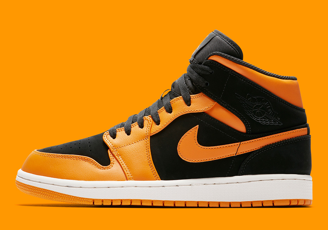 22c1ebd3f074 Air Jordan 1 Mid Available now on Nike.com  110. Color  Black Orange Peel- Sail Style Code  554724-081