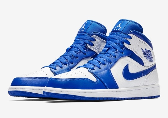 """The Air Jordan 1 Mid Releases In A """"Hyper Royal"""" Colorway"""