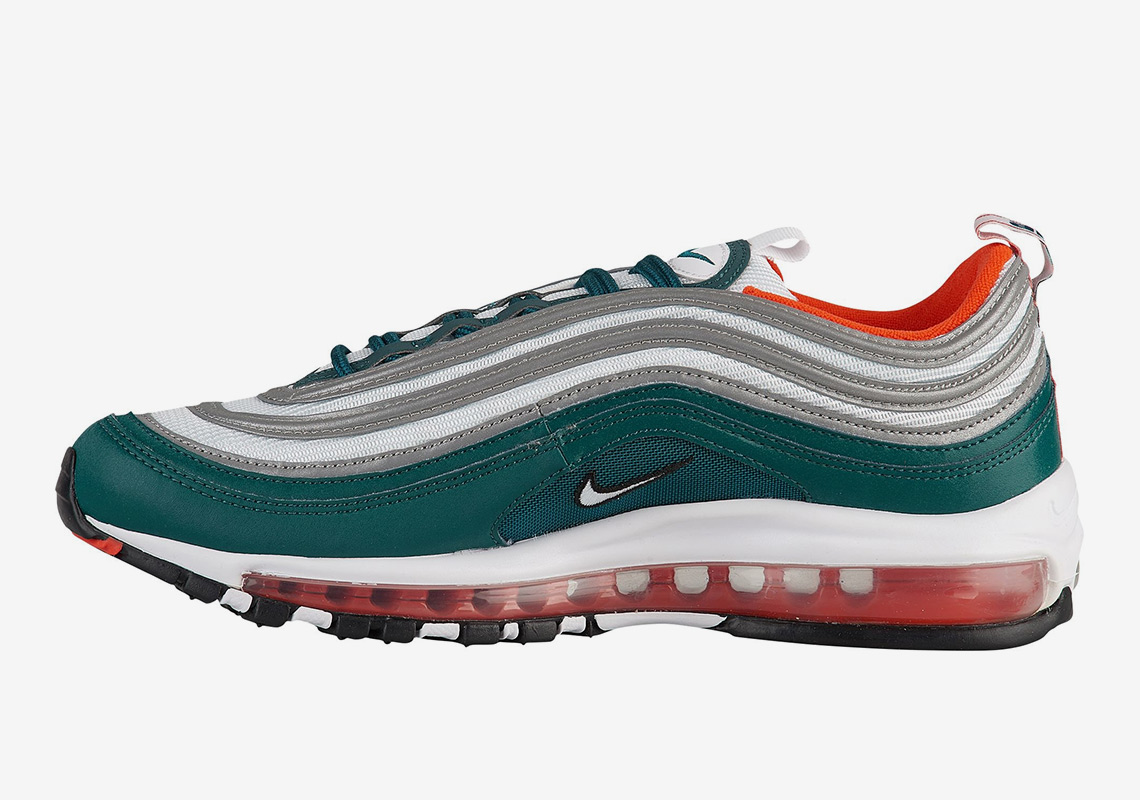 Elegibilidad Desobediencia Actualizar  Nike Air Max 97 Teal Orange Miami Dolphins | SneakerNews.com