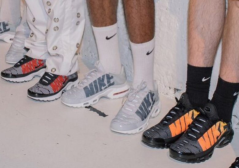 nike air max plus striped black orange