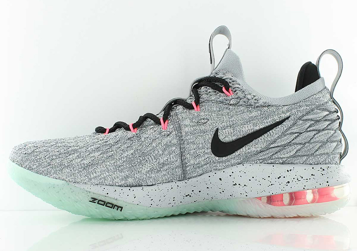 lebron 15 low grey and pink off 63