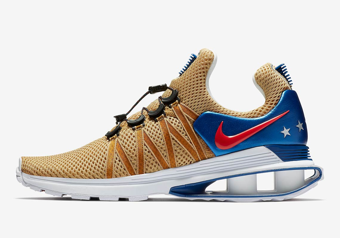 Nike Shox Gravity AVAILABLE AT Nike  150. Color  Metallic Gold White-Gym  Blue-Speed Red Style Code  AR1999-700 a6fd9f3c4