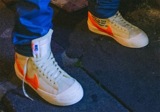 An Off-White x Nike Blazer In Cream/Orange Debuts At Paris Fashion Week
