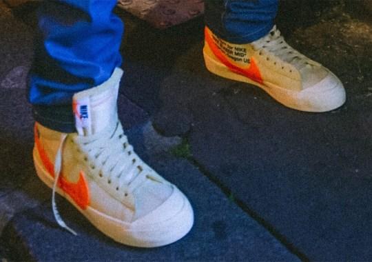 An Off-White x Nike Blazer In Cream/Orange Debuts At Paris Fashion Week