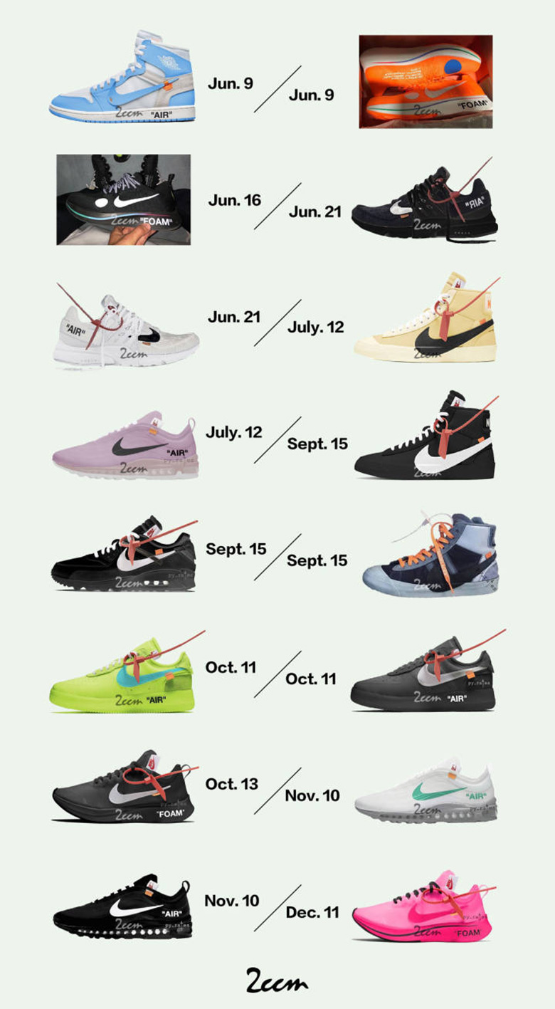 OFF WHITE x Nike Release Dates | SneakerNews.com