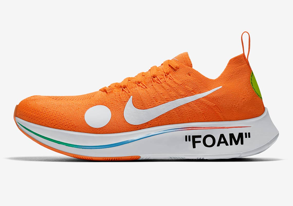 purchase cheap 91e69 f7e42 Look for both OFF WHITE x Nike Zoom Fly Mercurial Flyknits to release June  14th —the same day the World Cup kicks off— on Nike.com, and retail for   200 USD.