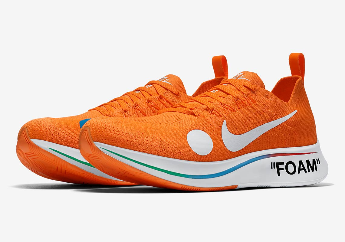 reputable site a5e56 59f92 OFF WHITE x Nike Zoom Fly Mercurial Flyknit Release Date  June 14th, 2018   200. Color  Black White-Volt