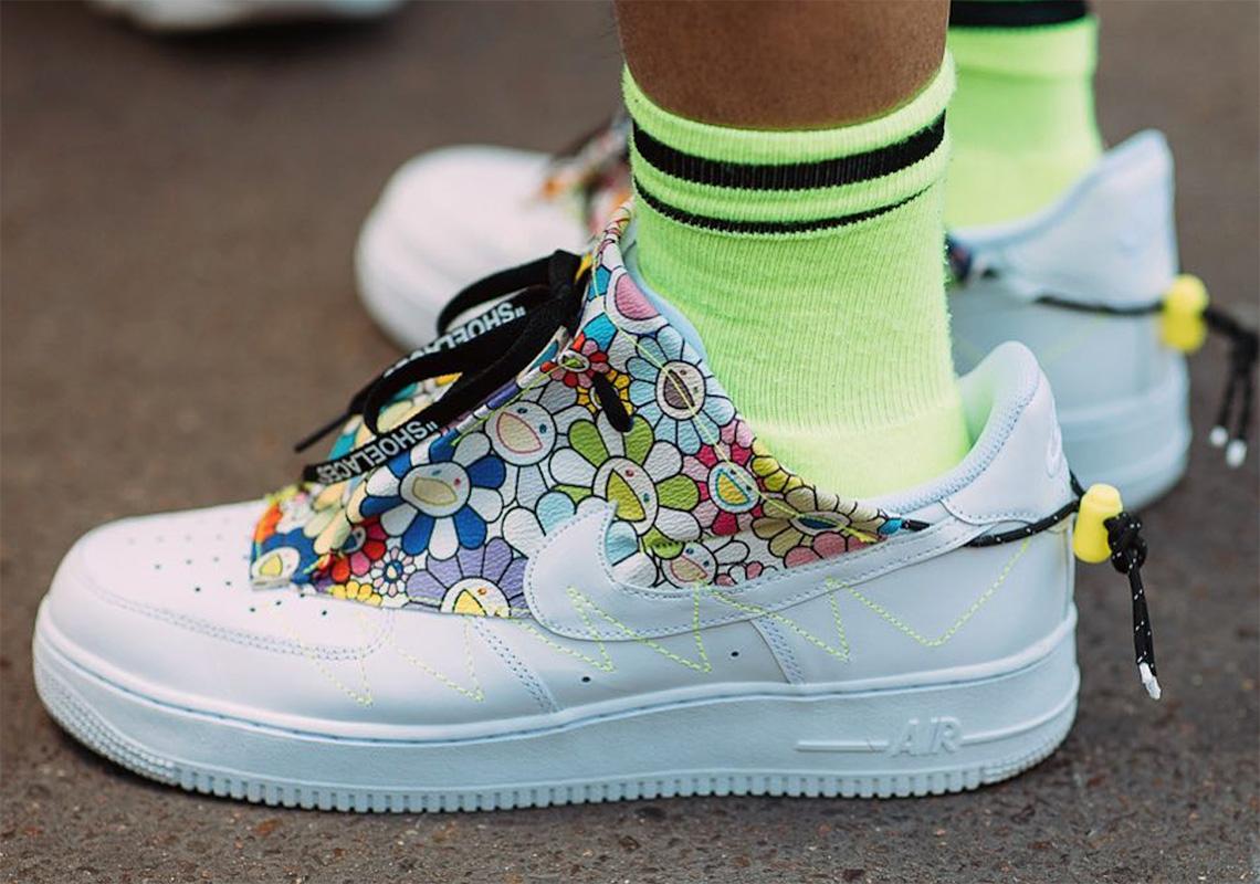 """separation shoes 8dc7d 72208 Takashi Murakami Wears Custom """"Flower Power"""" Air Force 1 At Paris Fashion  Week"""