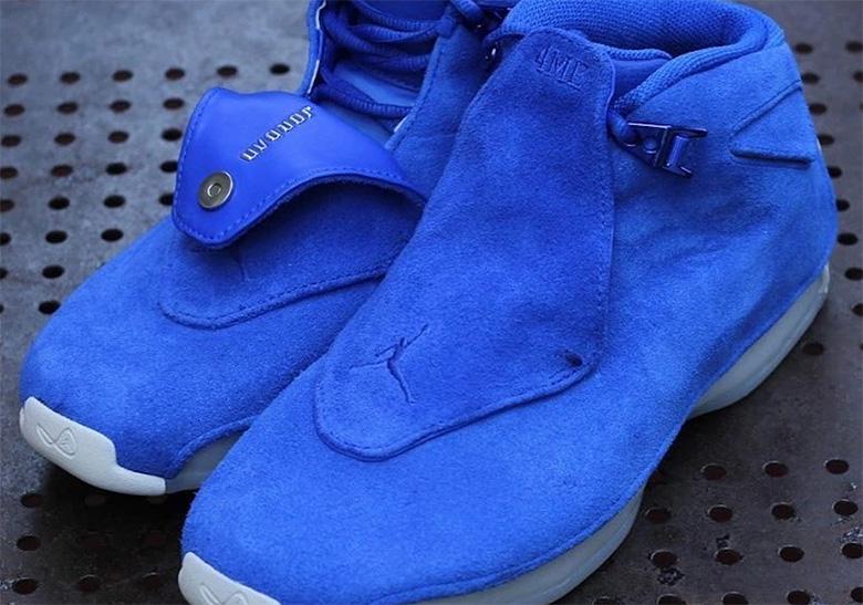 6bb4df69434b Air Jordan 18 Blue Suede Release Info