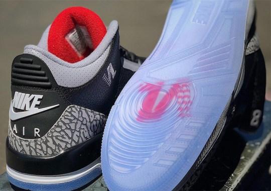 "24ff1b8278106 Nipsey Hussle s Air Jordan 3 ""Black Cement"" PE Features Victory Lap Logo"