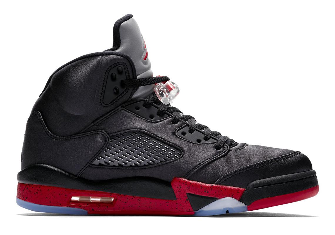 Air Jordan 5 Satin Black Red 136027-006 Official Images