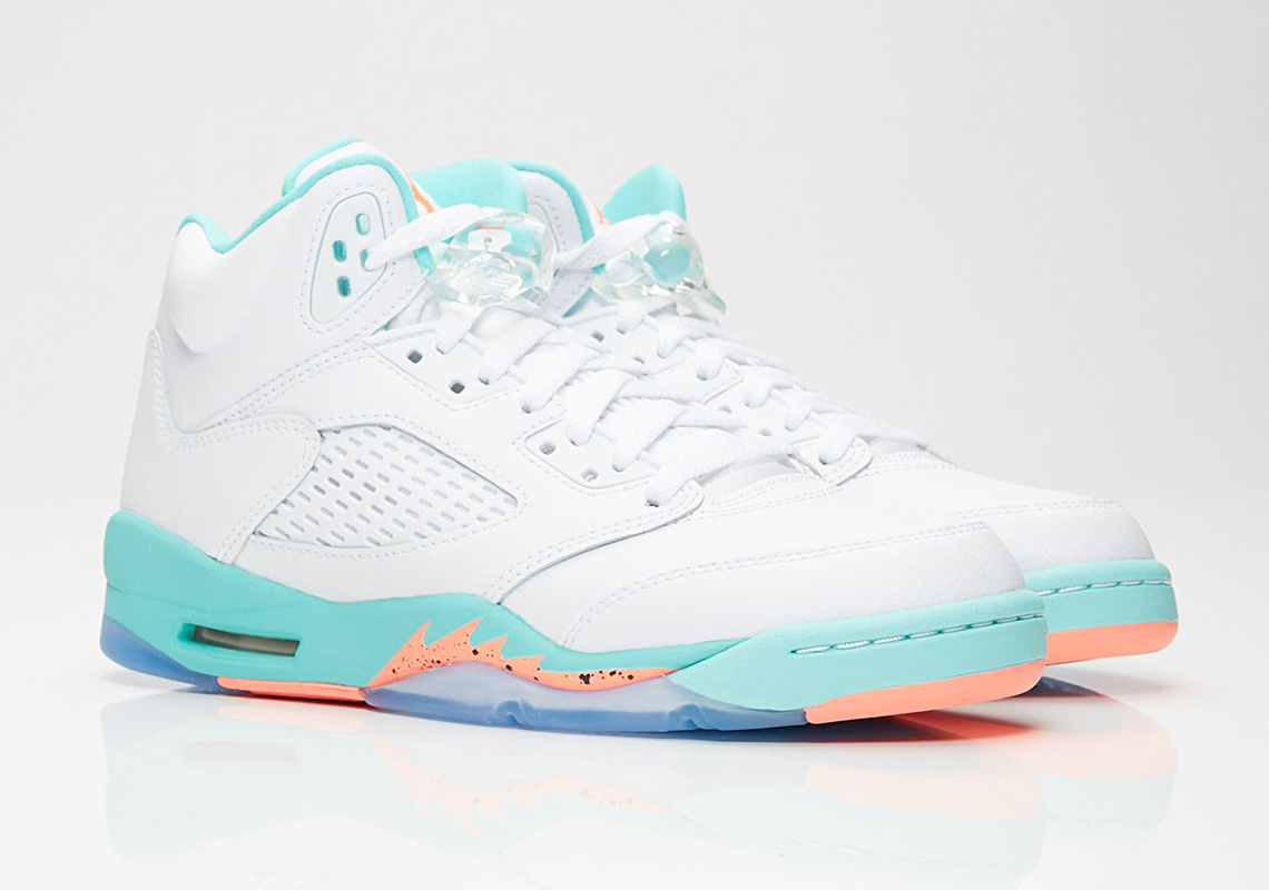 dd0063bb4c0 Air Jordan 5 GG 440892-100 White Aqua Crimson | SneakerNews.com