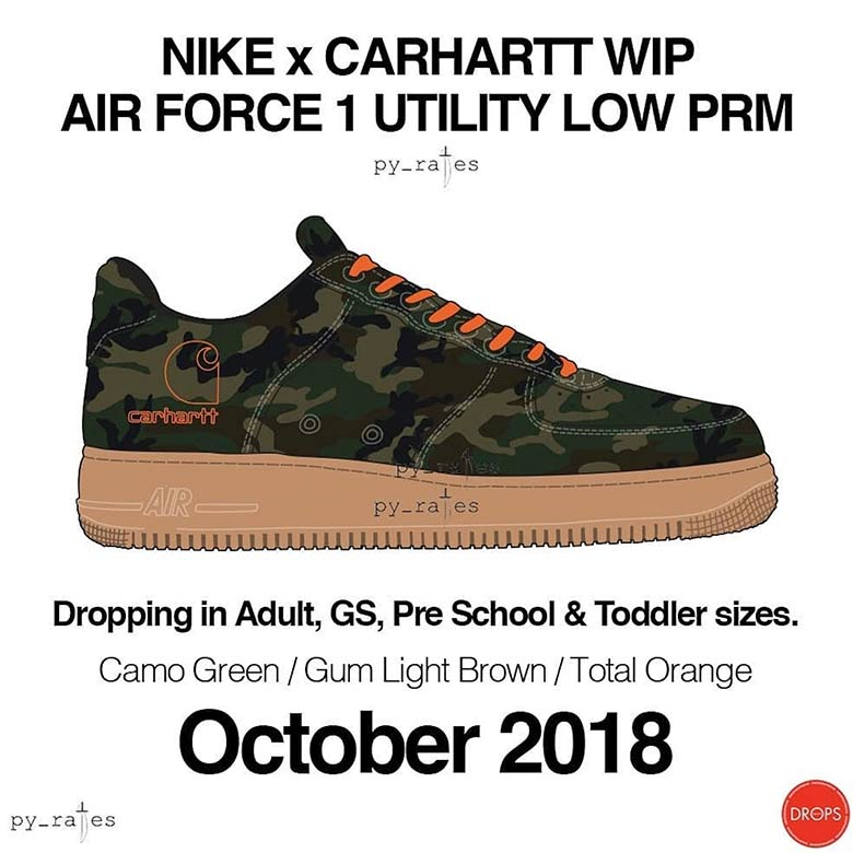 Carhartt WIP x Nike Air Force 1 Utility Low Release Date  October 2018.  Color  Camo Green Gum Light Brown Total Orange 5a1a4402d