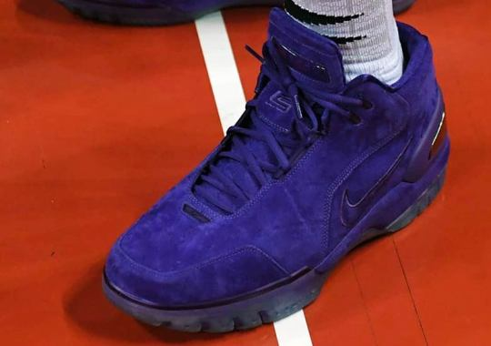 e49505c59252 LeBron James Attends Lakers Summer League In Purple Nike Air Zoom Generation