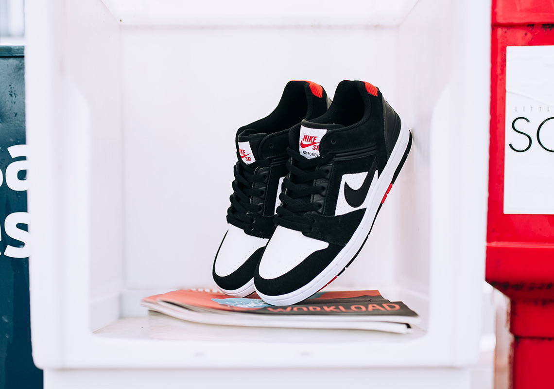 Nike SB Air Force 2 Low  95. Color  Black White-Habanero Red 42619e3d0b4c