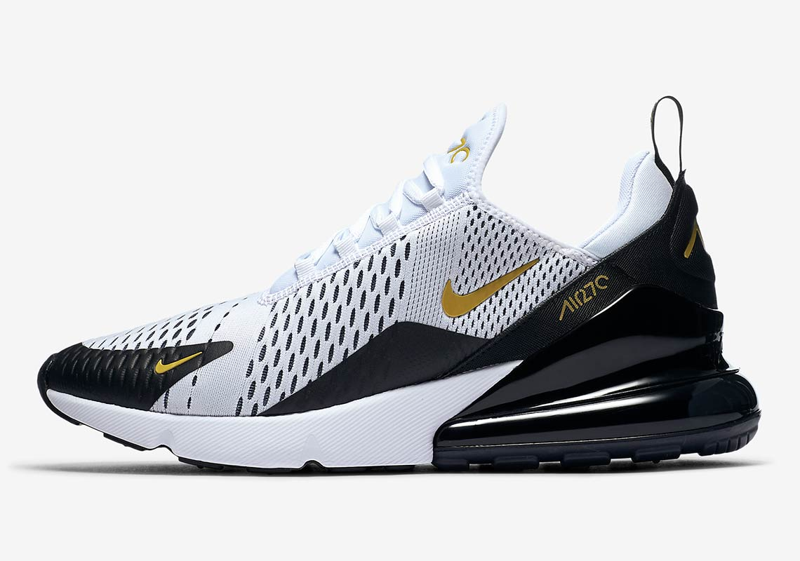 skate shoes release date: good Nike Air Max 270 White Black Gold AV7892-100 Available Now ...