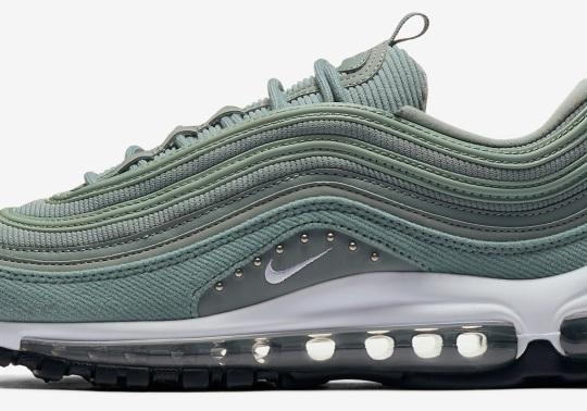 """Nike Air Max 97 """"Mica Green"""" Features Corduroy And Studs"""