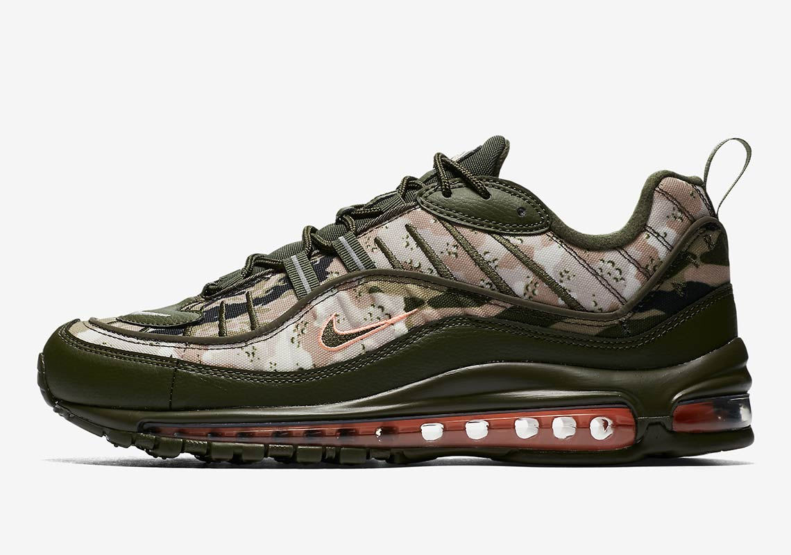 6c70ff65fc Nike Air Max 98. Release Date: July 28th, 2018. COMING SOON TO Nike $180.  Color: Cargo Khaki/Sunset Tint/Black