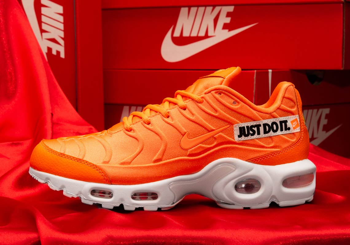 "a2dca3bac4 Nike Air Max Plus ""Just Do It"" Release Date: August 2, 2018. Color: Total  Orange/White-Black"